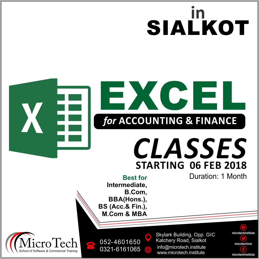 excel advance for finance short computer diploma course in sialkot